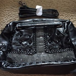 NO LABEL BLACK FAUX LEATHER MIXED DESIGN SATCHEL